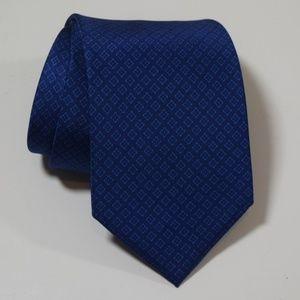 BRIONI Blue Aqua Diamonds Geometric Silk Neck Tie